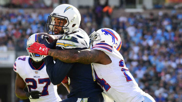 CARSON, CA - NOVEMBER 19: Keenan Allen #13 of the Los Angeles Chargers makes a catch for a touchdown while being guarded by Leonard Johnson #24 of the Buffalo Bills taking a 10 point lead during the second quarter of the game at the StubHub Center on November 19, 2017 in Carson, California. (Photo by Harry How/Getty Images)