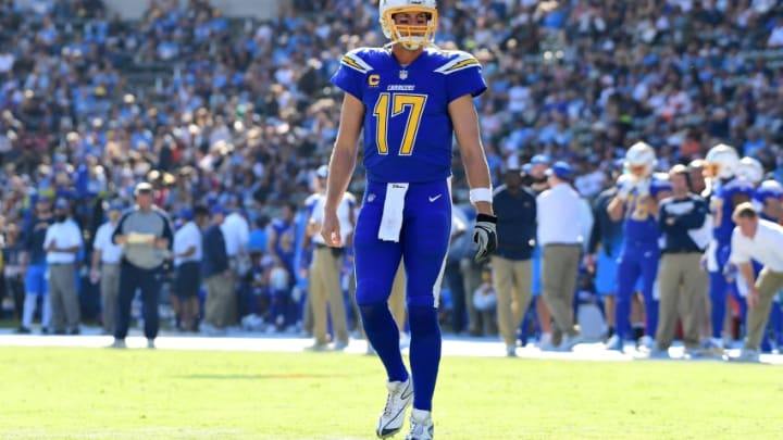 CARSON, CA - DECEMBER 03: Philip Rivers #17 of the Los Angeles Chargers during the game against the Cleveland Browns at StubHub Center on December 3, 2017 in Carson, California. (Photo by Harry How/Getty Images)