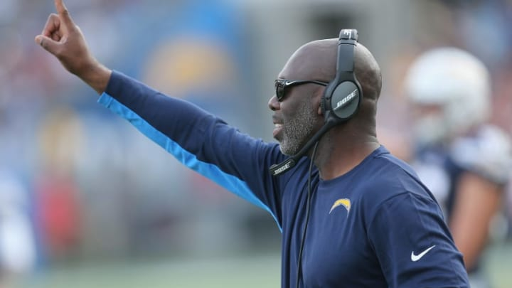 CARSON, CA - DECEMBER 10: Head coach Anthony Lynn of the Los Angeles Chargers signals in the second quarter against the Washington Redskins on December 10, 2017 at StubHub Center in Carson, California. (Photo by Stephen Dunn/Getty Images)