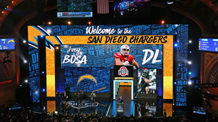 CHICAGO, IL – APRIL 28: Joey Bosa holds his San Diego Chargers jersey during the 2016 NFL Draft at the Auditorium Theater on April 28, 2016 in Chicago, Illinois. (Photo by Jonathan Daniel/Getty Images)