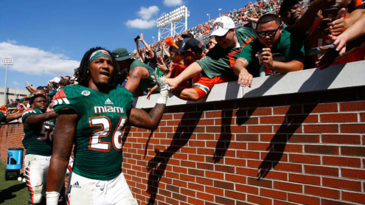 ATLANTA, GA - OCTOBER 01: Rayshawn Jenkins #26 of the Miami Hurricanes celebrates with fans after beating the Georgia Tech Yellow Jackets at Bobby Dodd Stadium on October 1, 2016 in Atlanta, Georgia. Miami won 35-21. (Photo by Daniel Shirey/Getty Images)