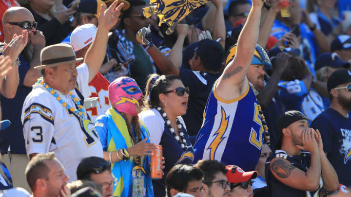 CARSON, CA - SEPTEMBER 24: Los Angeles Chargers fans are seen during the game against the Kansas City Chiefs at the StubHub Center on September 24, 2017 in Carson, California. (Photo by Sean M. Haffey/Getty Images)