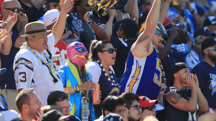 CARSON, CA – SEPTEMBER 24: Los Angeles Chargers fans are seen during the game against the Kansas City Chiefs at the StubHub Center on September 24, 2017 in Carson, California. (Photo by Sean M. Haffey/Getty Images)