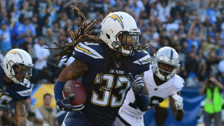 CARSON, CA - DECEMBER 31: Tre Boston #33 of the Los Angeles Chargers runs down field during the of the game against the Oakland Raiders at StubHub Center on December 31, 2017 in Carson, California. (Photo by Harry How/Getty Images)