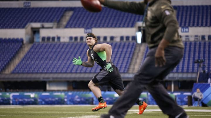 INDIANAPOLIS, IN - FEBRUARY 28: Defensive lineman Joey Bosa of Ohio State participates in a drill during the 2016 NFL Scouting Combine at Lucas Oil Stadium on February 28, 2016 in Indianapolis, Indiana. (Photo by Joe Robbins/Getty Images)
