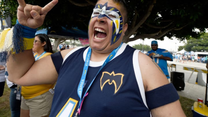 CARSON, CA - SEPTEMBER 17: A Los Angeles Chargers fan is seen before the game against the Miami Dolphins at the StubHub Center on September 17, 2017 in Carson, California. (Photo by Kevork Djansezian/Getty Images)
