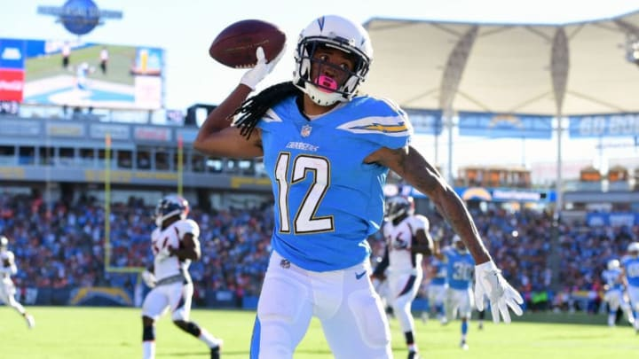 CARSON, CA - OCTOBER 22: Travis Benjamin #12 of the Los Angeles Chargers celebrates after scoring a touchdown in the second half of the game during the game against the Denver Broncos at the StubHub Center on October 22, 2017 in Carson, California. (Photo by Harry How/Getty Images)