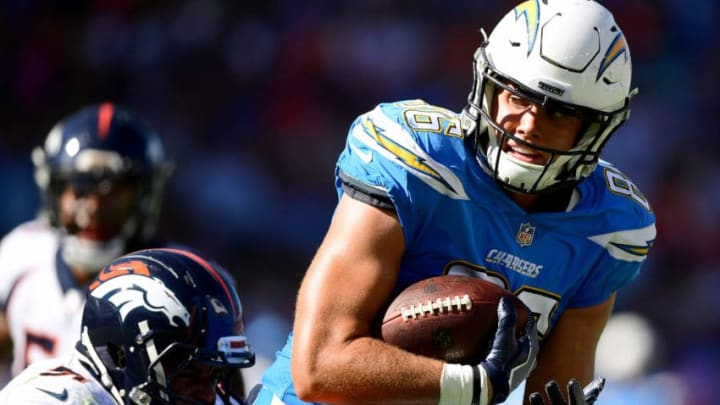 CARSON, CA - OCTOBER 22: Hunter Henry #86 of the Los Angeles Chargers gets tackled after his catch by Todd Davis #51 of the Denver Broncos at StubHub Center on October 22, 2017 in Carson, California. (Photo by Harry How/Getty Images)