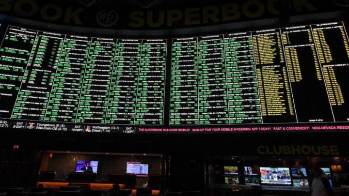 LAS VEGAS, NV - JANUARY 26: Some of the more than 400 proposition bets for Super Bowl LI between the Philadelphia Eagles and the New England Patriots are displayed at the Race