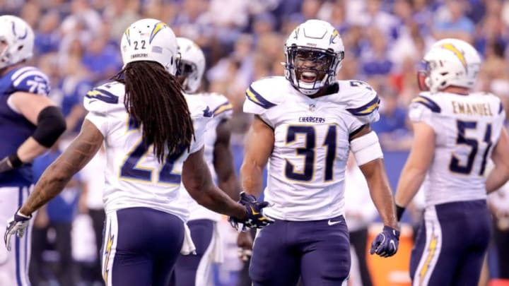 INDIANAPOLIS, IN - SEPTEMBER 25: Adrian Phillips #31 of of the San Diego Chargers gets a five from Jason Verrett #22 of the San Diego Chargers after a San Diego sack during the game against the Indianapolis Colts at Lucas Oil Stadium on September 25, 2016 in Indianapolis, Indiana. (Photo by Andy Lyons/Getty Images)