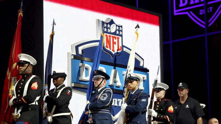 PHILADELPHIA, PA - APRIL 27: Members of the military march on stage prior to the first round of the 2017 NFL Draft at the Philadelphia Museum of Art on April 27, 2017 in Philadelphia, Pennsylvania. (Photo by Elsa/Getty Images)