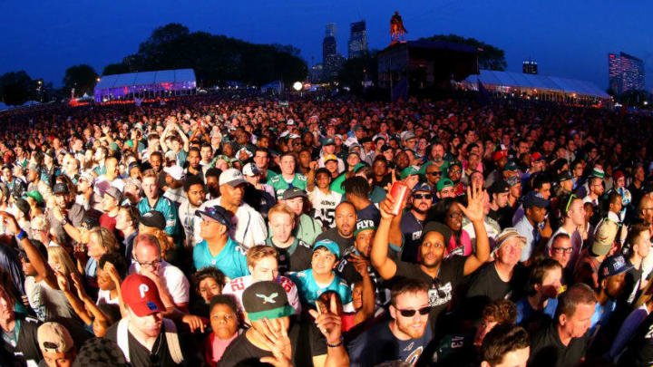 PHILADELPHIA, PA - APRIL 27: Fans cheer from the viewing party during the first round of the 2017 NFL Draft at the Philadelphia Museum of Art on April 27, 2017 in Philadelphia, Pennsylvania. (Photo by Mitchell Leff/Getty Images)