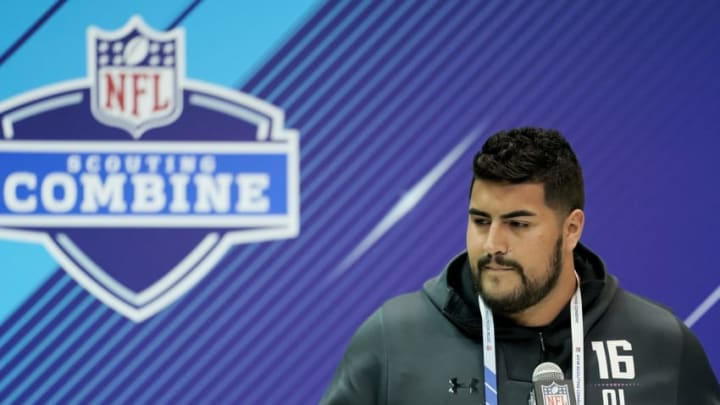 INDIANAPOLIS, IN - MARCH 01: UTEP offensive lineman Will Hernandez speaks to the media during NFL Combine press conferences at the Indiana Convention Center on March 1, 2018 in Indianapolis, Indiana. (Photo by Joe Robbins/Getty Images)