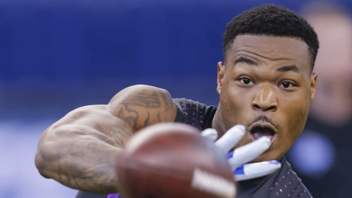INDIANAPOLIS, IN - MARCH 05: Florida State defensive back Derwin James (DB57) during the NFL Scouting Combine at Lucas Oil Stadium on March 5, 2018 in Indianapolis, Indiana. (Photo by Michael Hickey/Getty Images)
