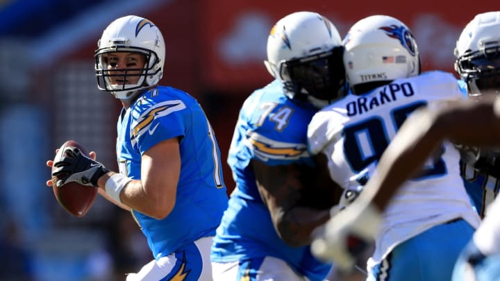 SAN DIEGO, CA – NOVEMBER 06: Philip Rivers #17 of the San Diego Chargers looks to pass during the second half of a game against the Tennessee Titans at Qualcomm Stadium on November 6, 2016 in San Diego, California. (Photo by Sean M. Haffey/Getty Images)