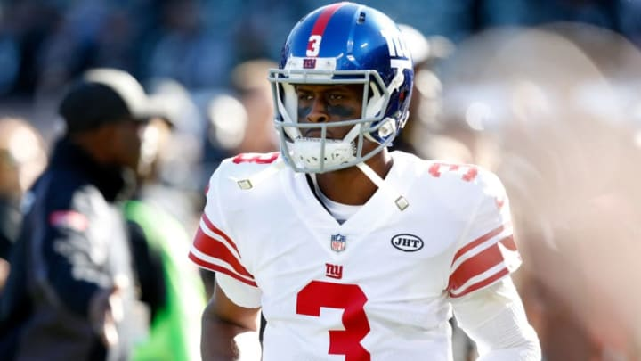 OAKLAND, CA - DECEMBER 03: Geno Smith #3 of the New York Giants warms up prior to their game against the Oakland Raiders at Oakland-Alameda County Coliseum on December 3, 2017 in Oakland, California. (Photo by Lachlan Cunningham/Getty Images)