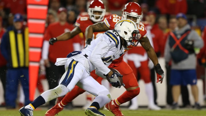 KANSAS CITY, MO – DECEMBER 16: Los Angeles Chargers wide receiver Keenan Allen (13) during a 9-yard reception in the fourth quarter of a week 15 NFL game between the Los Angeles Chargers and Kansas City Chiefs on December 16, 2017 at Arrowhead Stadium in Kansas City, MO. The Chiefs won 30-13. (Photo by Scott Winters/Icon Sportswire via Getty Images)