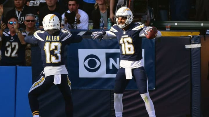 CARSON, CA - DECEMBER 31: Tyrell Williams #16 of the Los Angeles Chargers celebrates his touchdown with teammate Keenan Allen #13 to take a 14-10 lead during the second quarter of the game against the Oakland Raiders at StubHub Center on December 31, 2017 in Carson, California. (Photo by Harry How/Getty Images)