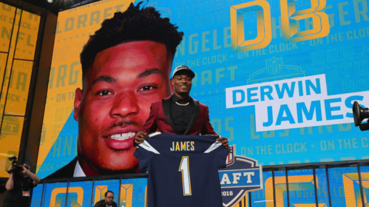 ARLINGTON, TX - APRIL 26: Derwin James of FSU poses after being picked #17 overall by the Los Angeles Chargers during the first round of the 2018 NFL Draft at AT&T Stadium on April 26, 2018 in Arlington, Texas. (Photo by Tom Pennington/Getty Images)