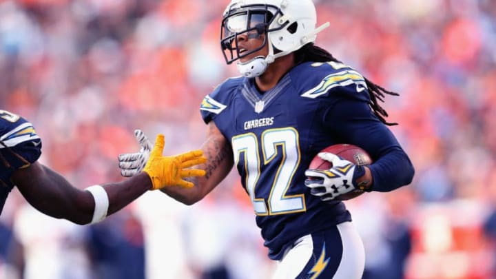 SAN DIEGO, CA - DECEMBER 06: Cornerback Jason Verrett #22 of the San Diego Chargers celebrates after intercepting a pass in the third quarter against the Denver Broncos at Qualcomm Stadium on December 6, 2015 in San Diego, California. The Broncos won 17-3. (Photo by Stephen Dunn/Getty Images)