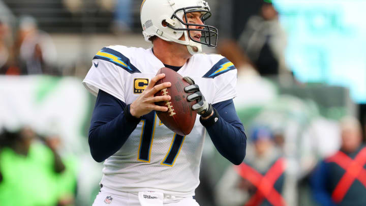 EAST RUTHERFORD, NJ – DECEMBER 24: Philip Rivers #17 of the Los Angeles Chargers looks to pass during the first half against the New York Jets in an NFL game at MetLife Stadium on December 24, 2017 in East Rutherford, New Jersey. (Photo by Ed Mulholland/Getty Images)