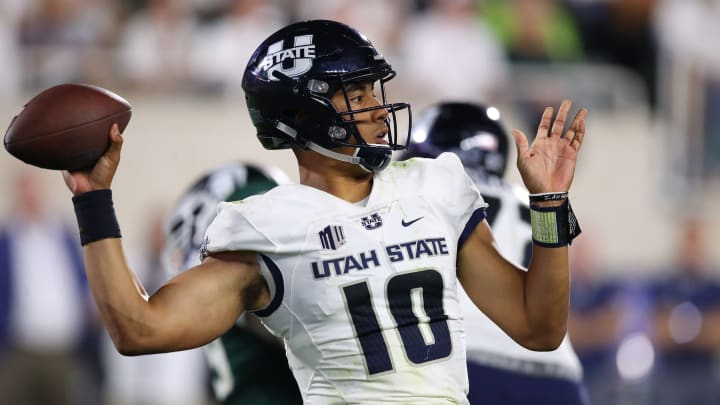 EAST LANSING, MI – AUGUST 31: Jordan Love #10 of the Utah State Aggies throws a second-half pass while playing the Michigan State Spartans at Spartan Stadium on August 31, 2018, in East Lansing, Michigan. Michigan State won the game 38-31. (Photo by Gregory Shamus/Getty Images)