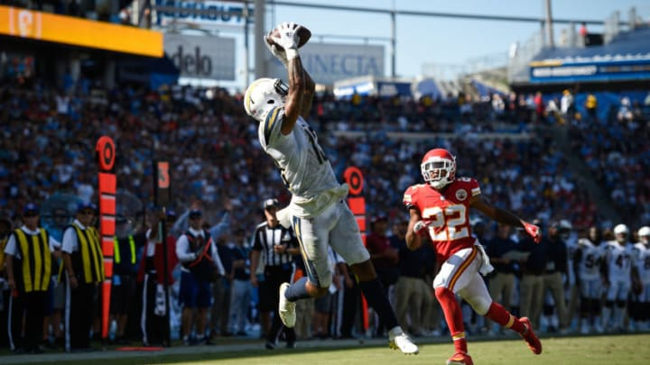 CARSON, CA - SEPTEMBER 09: Wide receiver Keenan Allen #13 of the Los Angeles Chargers catches a pass from quarterback Philip Rivers #17 for a touchdown in the fourth quarter against the Kansas City Chiefs at StubHub Center on September 9, 2018 in Carson, California. (Photo by Kevork Djansezian/Getty Images)