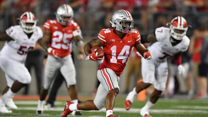 COLUMBUS, OH - OCTOBER 6: K.J. Hill #14 of the Ohio State Buckeyes runs with the ball against the Indiana Hoosiers at Ohio Stadium on October 6, 2018 in Columbus, Ohio. (Photo by Jamie Sabau/Getty Images)