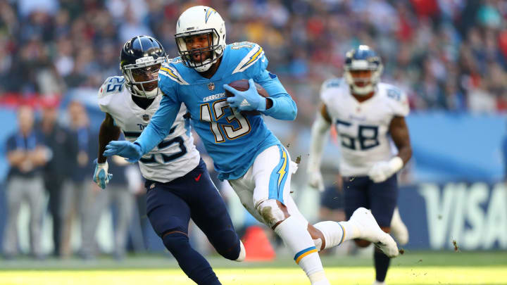 LONDON, ENGLAND – OCTOBER 21: Keenan Allen of Los Angeles Chargers in action during the NFL International Series match between Tennessee Titans and Los Angeles Chargers at Wembley Stadium on October 21, 2018, in London, England. (Photo by Clive Rose/Getty Images)