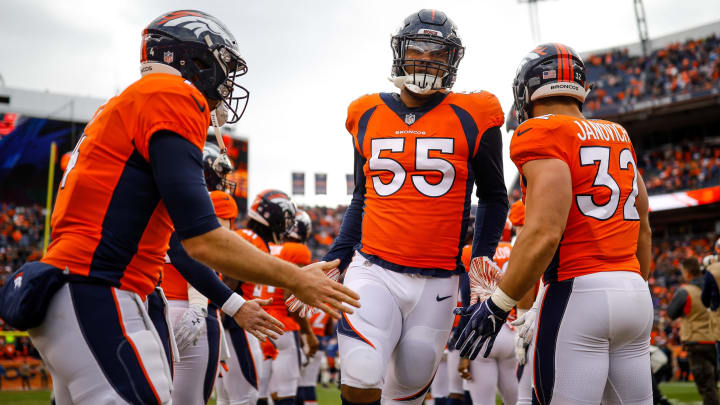 DENVER, CO – DECEMBER 30: Outside linebacker Bradley Chubb #55 of the Denver Broncos runs onto the field during player introductions before a game against the Los Angeles Chargers at Broncos Stadium at Mile High on December 30, 2018 in Denver, Colorado. (Photo by Justin Edmonds/Getty Images)