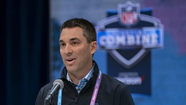 INDIANAPOLIS, IN - FEBRUARY 27: Tom Telesco general manager of the Los Angeles Chargers is seen at the 2019 NFL Combine at Lucas Oil Stadium on February 28, 2019 in Indianapolis, Indiana. (Photo by Michael Hickey/Getty Images)