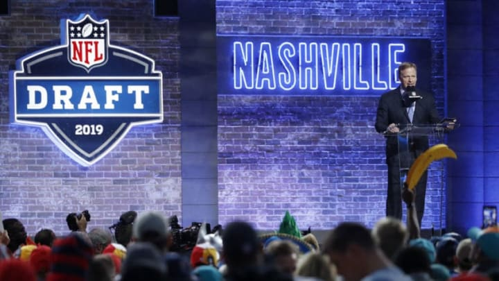 NASHVILLE, TN - APRIL 25: NFL Commissioner Roger Goodell on stage during the first round of the NFL Draft on April 25, 2019 in Nashville, Tennessee. (Photo by Joe Robbins/Getty Images)