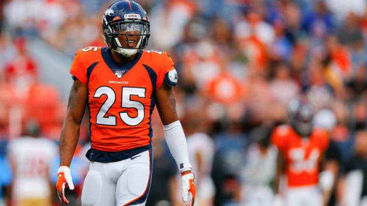 DENVER, CO - AUGUST 19: Cornerback Chris Harris #25 of the Denver Broncos in action against the San Francisco 49ers during a preseason game at Broncos Stadium at Mile High on August 19, 2019 in Denver, Colorado. (Photo by Justin Edmonds/Getty Images)