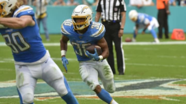 MIAMI, FL – SEPTEMBER 29: Austin Ekeler #30 of the Los Angeles Chargers rushes the football during the fourth quarter against the Miami Dolphins at Hard Rock Stadium on September 29, 2019, in Miami, Florida. (Photo by Eric Espada/Getty Images)