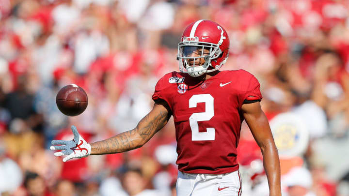 TUSCALOOSA, ALABAMA - SEPTEMBER 07: Patrick Surtain II #2 of the Alabama Crimson Tide reacts after intercepting a pass intended for Austin Shaw #13 of the New Mexico State Aggies at Bryant-Denny Stadium on September 07, 2019 in Tuscaloosa, Alabama. (Photo by Kevin C. Cox/Getty Images)