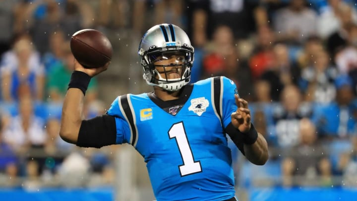 CHARLOTTE, NORTH CAROLINA – SEPTEMBER 12: Quarterback Cam Newton #1 of the Carolina Panthers looks to pass in the first quarter against the Tampa Bay Buccaneers game at Bank of America Stadium on September 12, 2019, in Charlotte, North Carolina. (Photo by Streeter Lecka/Getty Images)