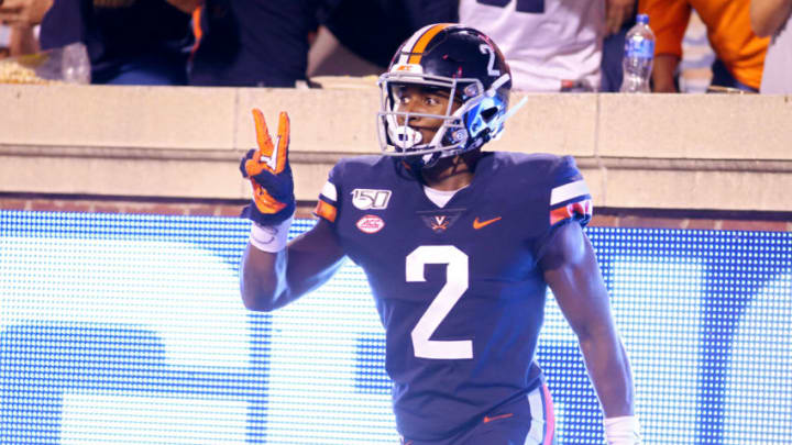 CHARLOTTESVILLE, VA - SEPTEMBER 14: Joe Reed #2 of the Virginia Cavaliers celebrates a touchdown catch in the second half during a game against the Florida State Seminoles at Scott Stadium on September 14, 2019 in Charlottesville, Virginia. (Photo by Ryan M. Kelly/Getty Images)