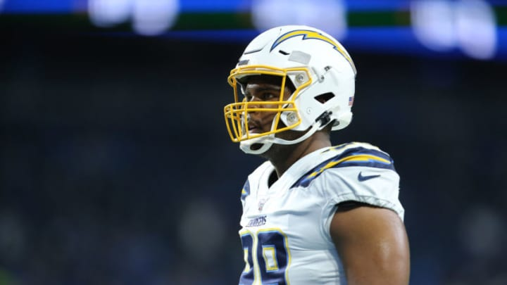 DETROIT, MI - SEPTEMBER 15: Jerry Tillery #99 of the Los Angeles Chargers during warm ups prior to the start of the game against the Detroit Lions at Ford Field on September 15, 2019 in Detroit, Michigan. (Photo by Rey Del Rio/Getty Images)