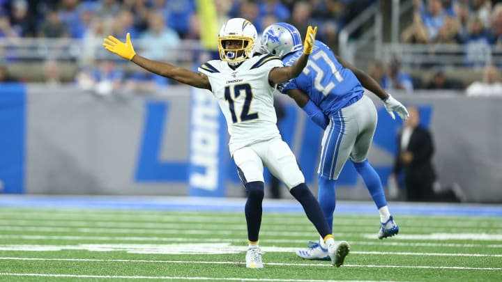 DETROIT, MI – SEPTEMBER 15: Travis Benjamin #12 of the Los Angeles Chargers reacts in the second quarter during a game against the Detroit Lions at Ford Field on September 15, 2019, in Detroit, Michigan. (Photo by Rey Del Rio/Getty Images)