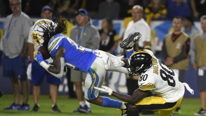 CARSON, CA - OCTOBER 13: Rayshawn Jenkins #23 of the Los Angeles Chargers intercepts a pass intended for Johnny Holton #80 of the Pittsburgh Steelers during the fourth quarter at Dignity Health Sports Park October 13, 2019 in Carson, California. (Photo by Denis Poroy/Getty Images)