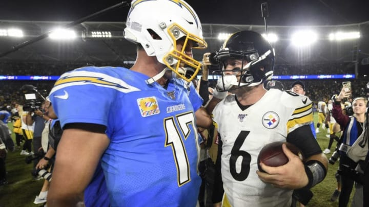 CARSON, CA - OCTOBER 13: Philip Rivers #17 of the Los Angeles Chargers congratulates Devlin Hodges #6 of the Pittsburgh Steelers after a 24-17 Steelers win at Dignity Health Sports Park October 13, 2019 in Carson, California. (Photo by Denis Poroy/Getty Images)