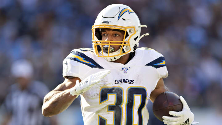 NASHVILLE, TN – OCTOBER 20: Austin Ekeler #30 of the Los Angeles Chargers runs the ball during a game against the Tennessee Titans at Nissan Stadium on October 20, 2019, in Nashville, Tennessee. (Photo by Wesley Hitt/Getty Images)