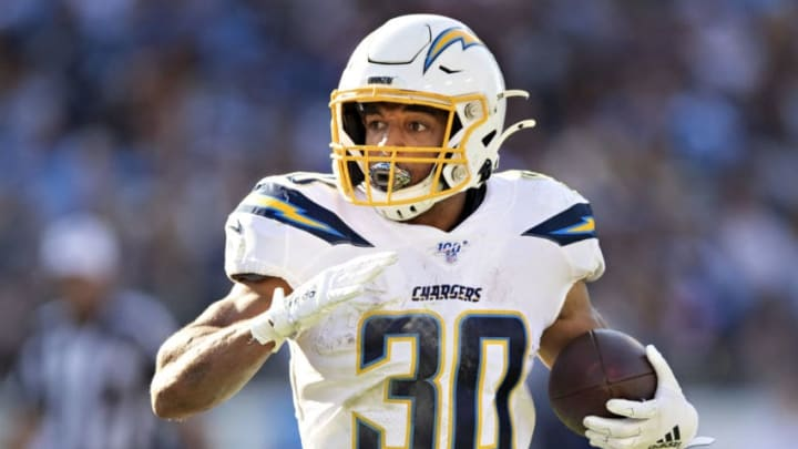 NASHVILLE, TN - OCTOBER 20: Austin Ekeler #30 of the Los Angeles Chargers runs the ball during a game against the Tennessee Titans at Nissan Stadium on October 20, 2019 in Nashville, Tennessee. (Photo by Wesley Hitt/Getty Images)