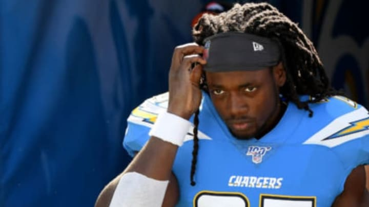 CARSON, CALIFORNIA – OCTOBER 06: Melvin Gordon #25 of the Los Angeles Chargers takes to the field before the game against the Denver Broncos at Dignity Health Sports Park on October 06, 2019 in Carson, California. (Photo by Harry How/Getty Images)