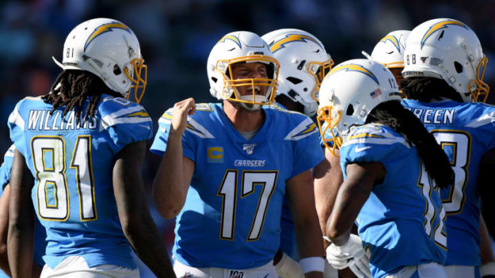CARSON, CALIFORNIA - OCTOBER 06: Philip Rivers #17 of the Los Angeles Chargers calls out a play during the fourth quarter in a 20-13 loss to the Denver Broncos at Dignity Health Sports Park on October 06, 2019 in Carson, California. (Photo by Harry How/Getty Images)