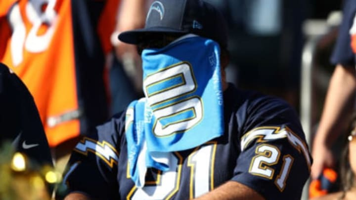 CARSON, CALIFORNIA – OCTOBER 06: A Los Angeles Chargers fan looks on during the second half of a game against the Denver Broncos at Dignity Health Sports Park on October 06, 2019 in Carson, California. (Photo by Sean M. Haffey/Getty Images)