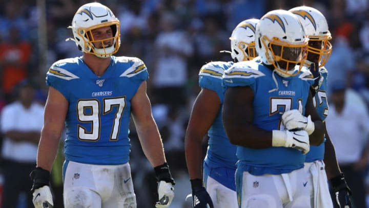 CARSON, CALIFORNIA - OCTOBER 06: Joey Bosa #97 of the Los Angeles Chargers looks on during the second half of a game against the Denver Broncos at Dignity Health Sports Park on October 06, 2019 in Carson, California. (Photo by Sean M. Haffey/Getty Images)