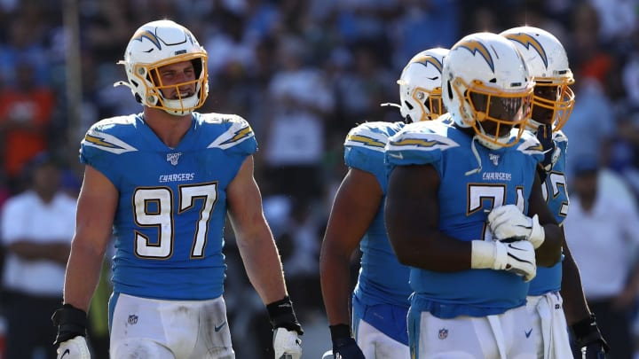 CARSON, CALIFORNIA – OCTOBER 06: Joey Bosa #97 of the Los Angeles Chargers looks on during the second half of a game against the Denver Broncos at Dignity Health Sports Park on October 06, 2019 in Carson, California. (Photo by Sean M. Haffey/Getty Images)