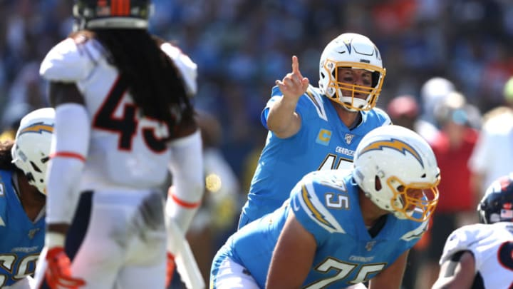 CARSON, CALIFORNIA - OCTOBER 06: Philip Rivers #17 of the Los Angeles Chargers calls a play during the first half of a game against the Denver Broncos at Dignity Health Sports Park on October 06, 2019 in Carson, California. (Photo by Sean M. Haffey/Getty Images)