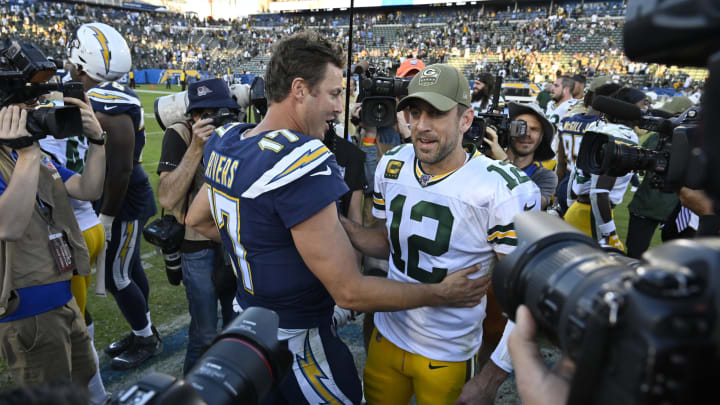 CARSON, CA – NOVEMBER 03: Aaron Rodgers #12 of the Green Bay Packers and Philip Rivers #17 of the Los Angeles Chargers meet at midfield after the game at Dignity Health Sports Park on November 3, 2019, in Carson, California. (Photo by John McCoy/Getty Images) Chargers won 26-11.